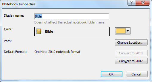 how to change the name of notebook onenote